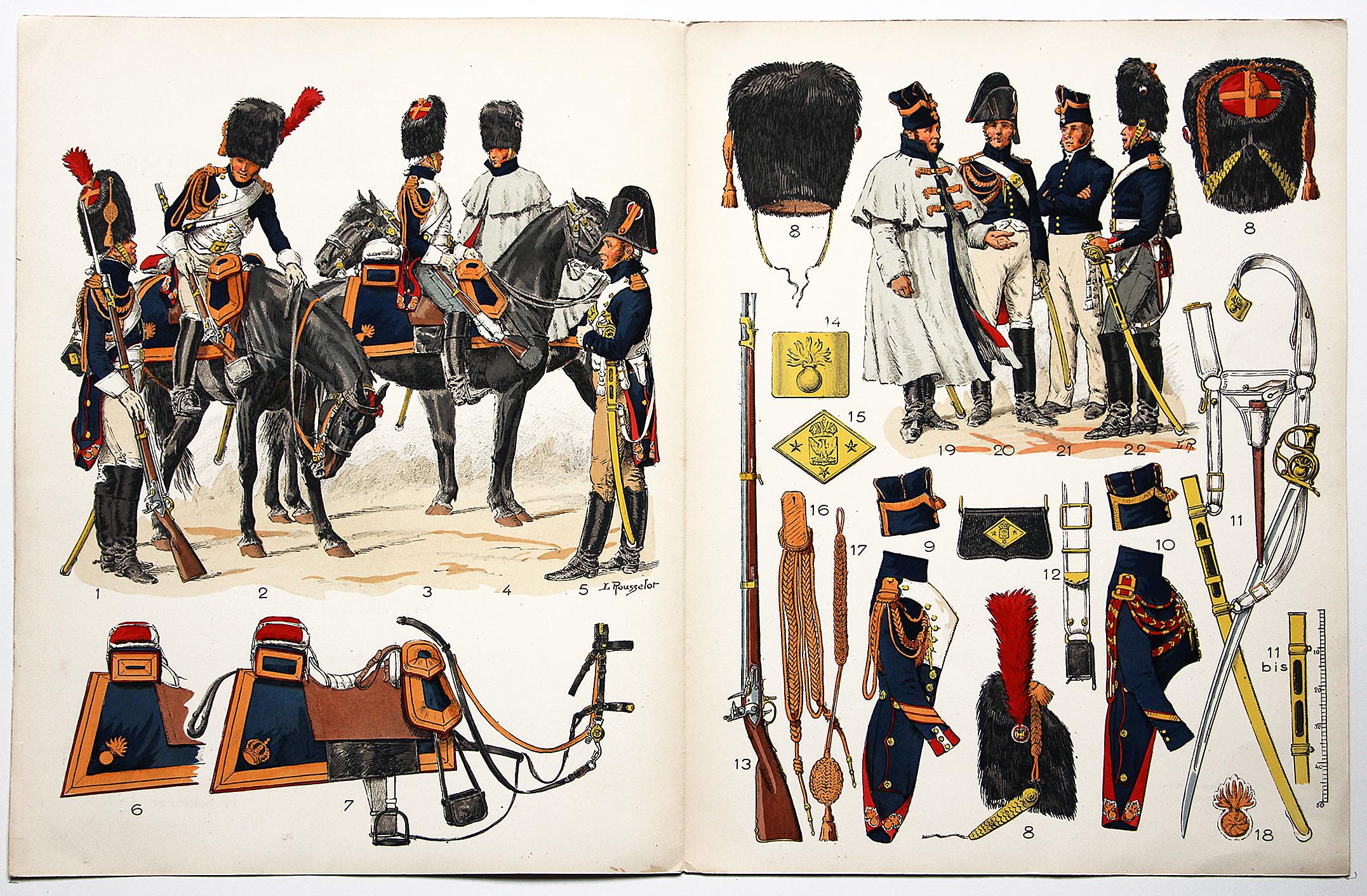 Planche sur l'armée Française N°23 - Garde Impériale Grenadiers a cheval 1804-1815 - Lucien Rousselot