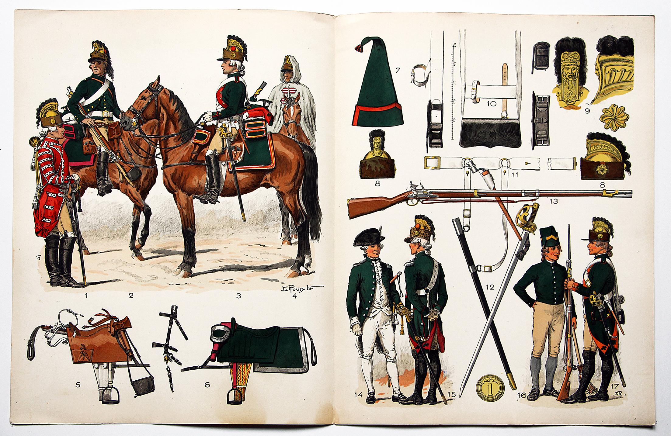 Planche sur l'armée Française N°24 - Dragons Réglement de 1786 - Lucien Rousselot