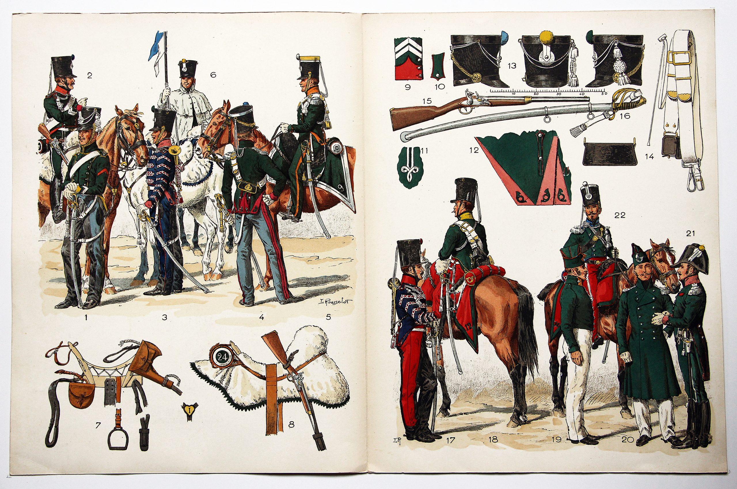 Planche sur l'armée Française N°26 - Chasseurs à Cheval 1815/1822 - Lucien Rousselot. 1949