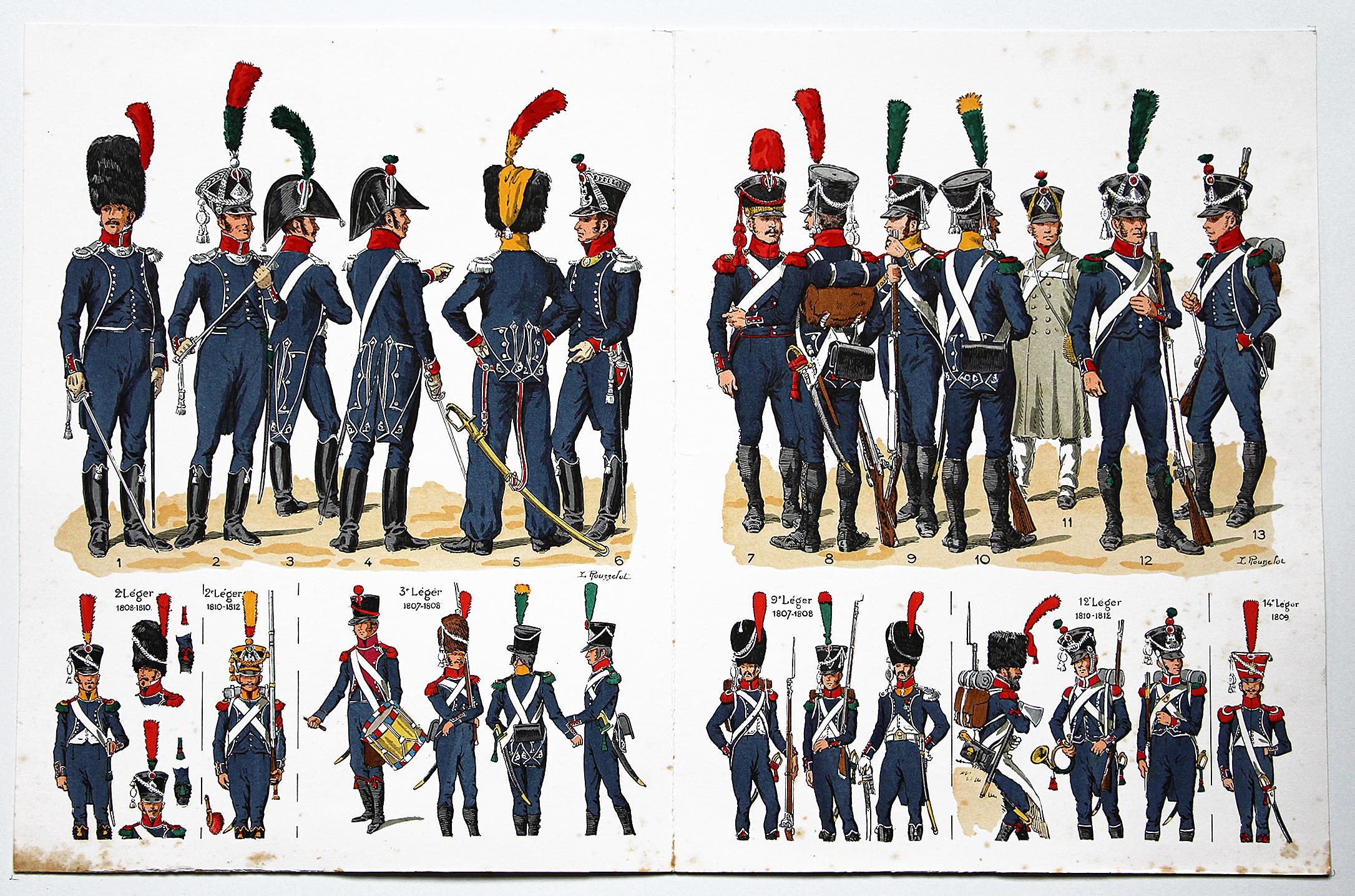 Planche sur l'armée Française N°33 - Infanterie Légère 1084-1813 - Lucien Rousselot