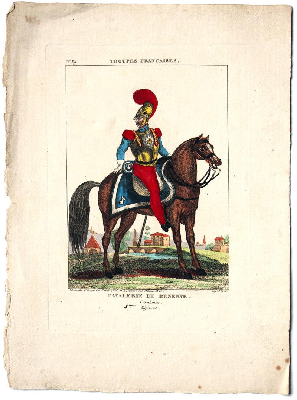 Gravure XIX - Turgis - Troupes françaises - Cavalerie de réserve - Carabinier 2 régiment