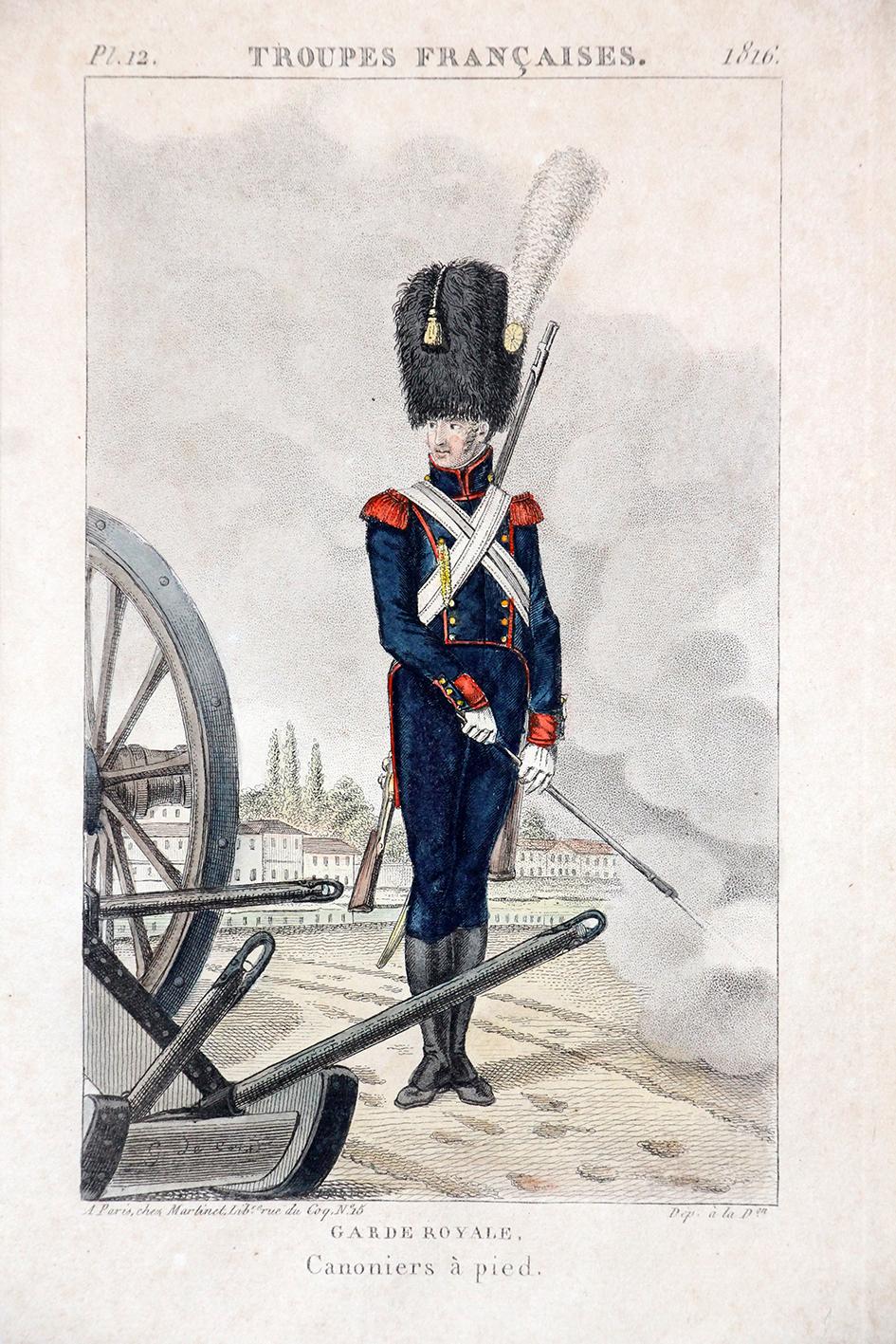 Gravure XIX - Martinet - Troupes françaises - Garde Royale 1816 - Canonnier à Pied