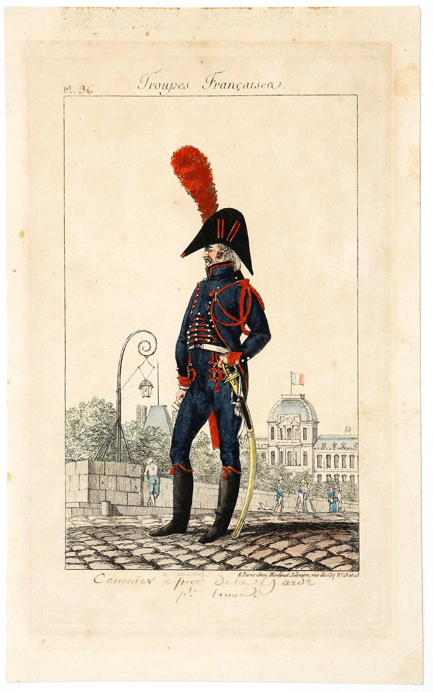 Gravure XIX - Martinet - Troupes françaises - Tenue Canonnier de la Garde - N°36
