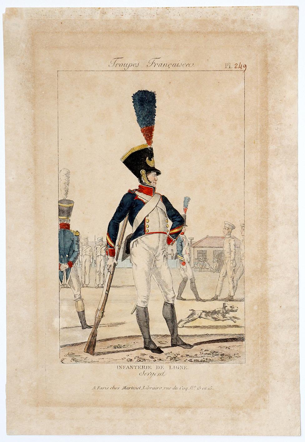 Gravure XIX - Martinet - Troupes françaises - Infanterie de ligne Sergent - N°249