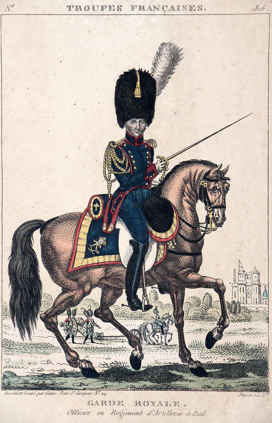 Gravure XIX - Canu - Troupes françaises - Garde Royale - Officier Artillerie à Pied - 1816