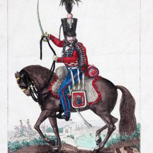 Gravure XIX - Canu - Troupes françaises - Cavalerie Légère de ligne - Hussards du Nord N°4 - 1816