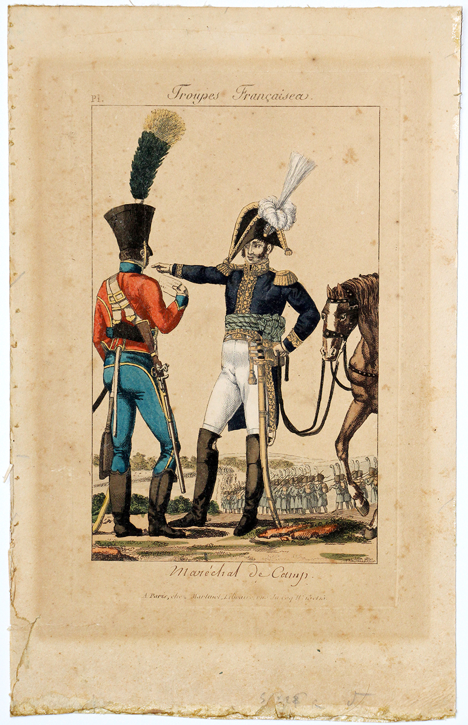 Gravure XIX - Martinet - Troupes françaises - Maréchal de Camp