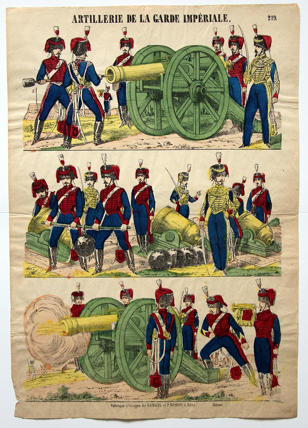 Planche imagerie Epinal - Pellerin Editeur - N°219 - Artillerie de la garde Impériale - Second Empire - Armée Française