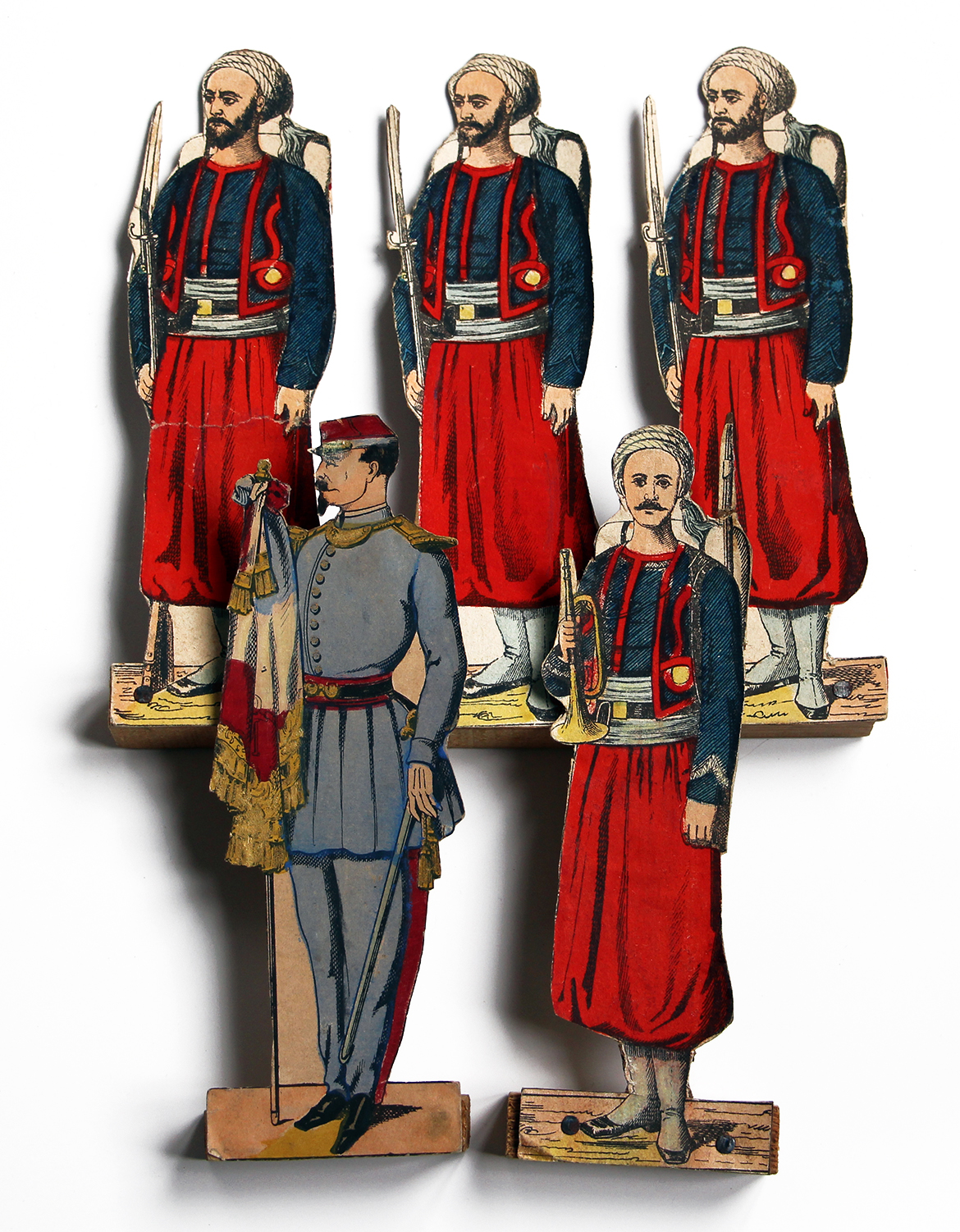 Petits Soldats de Papier - Imagerie Pellerin - Zouaves et Spahis - Montés sur socle