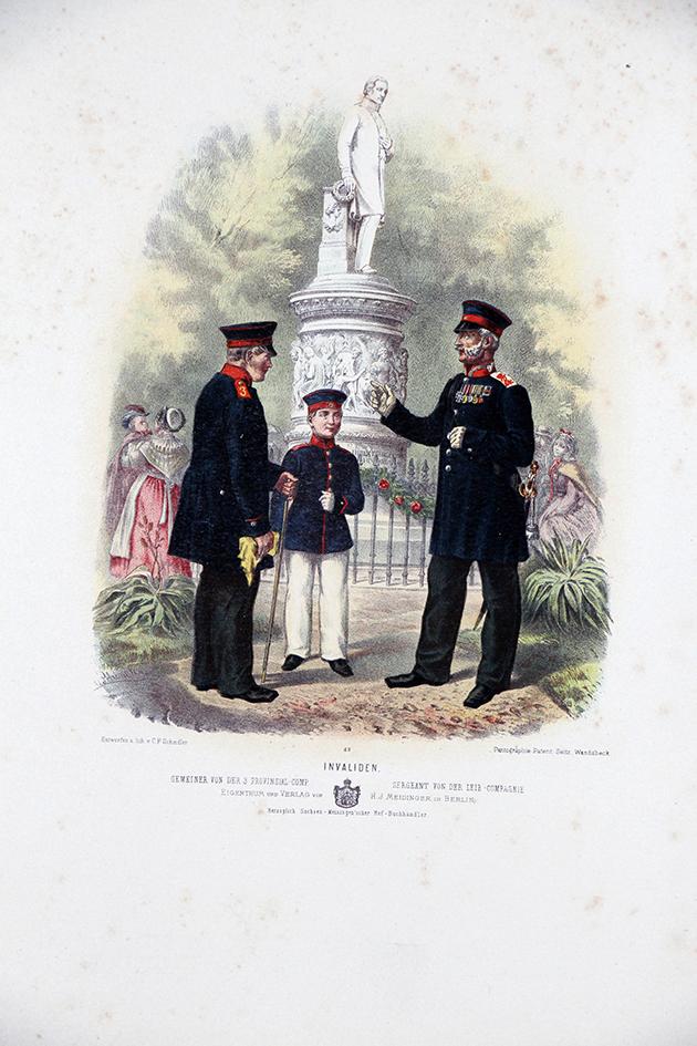 Gravure Chromolithographie XIX - Armée Prussienne - Invalide - Uniforme