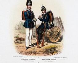 Gravure Chromolithographie XIX - Armée Prussienne - Garde Pionnier - Uniforme