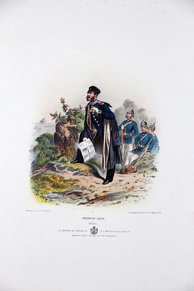 Gravure Chromolithographie XIX - Armée Prussienne - Ingénieur Corps - Uniforme