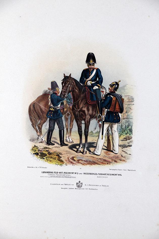 Gravure Chromolithographie XIX - Armée Prussienne - Artillerie - Uniforme