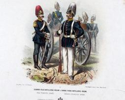 Gravure Chromolithographie XIX - Armée Prussienne - Artillerie Garde - Uniforme