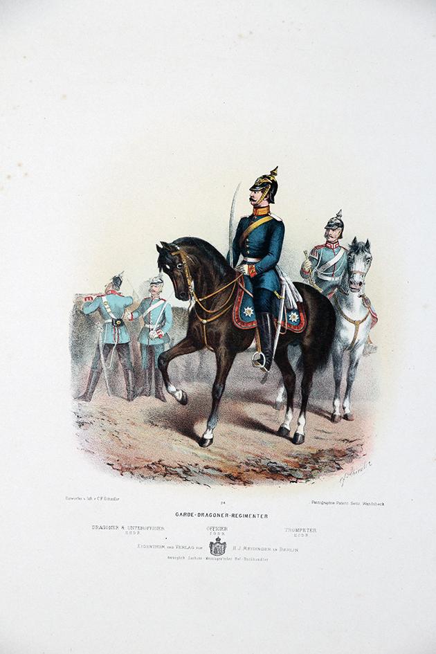 Gravure Chromolithographie XIX - Armée Prussienne - Dragons de la Garde - Uniforme
