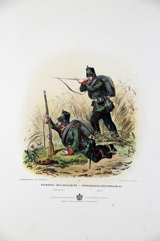 Gravure Chromolithographie XIX - Armée Prussienne - Chasseurs a pied Bataillon - Uniforme
