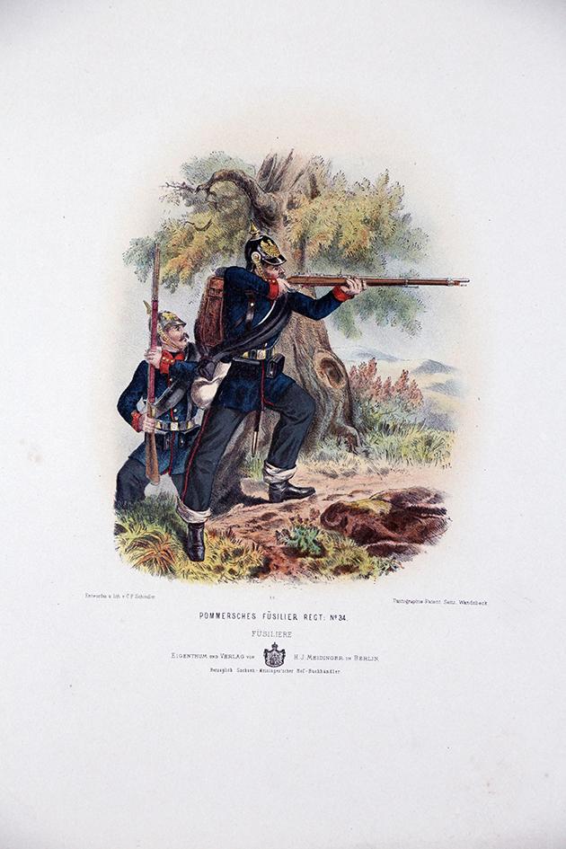 Gravure Chromolithographie XIX - Armée Prussienne - Fusiliers - Uniforme