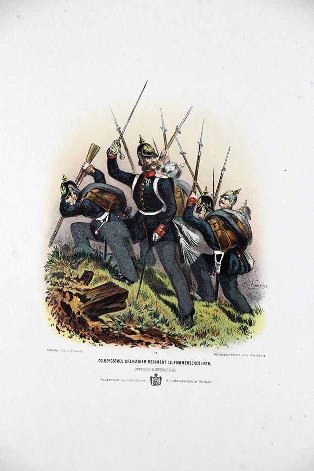 Gravure Chromolithographie XIX - Armée Prussienne - Grenadiers Régiment - Uniforme