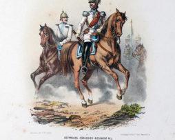 Gravure Chromolithographie XIX - Armée Prussienne - Cuirassier Régiment - Uniforme