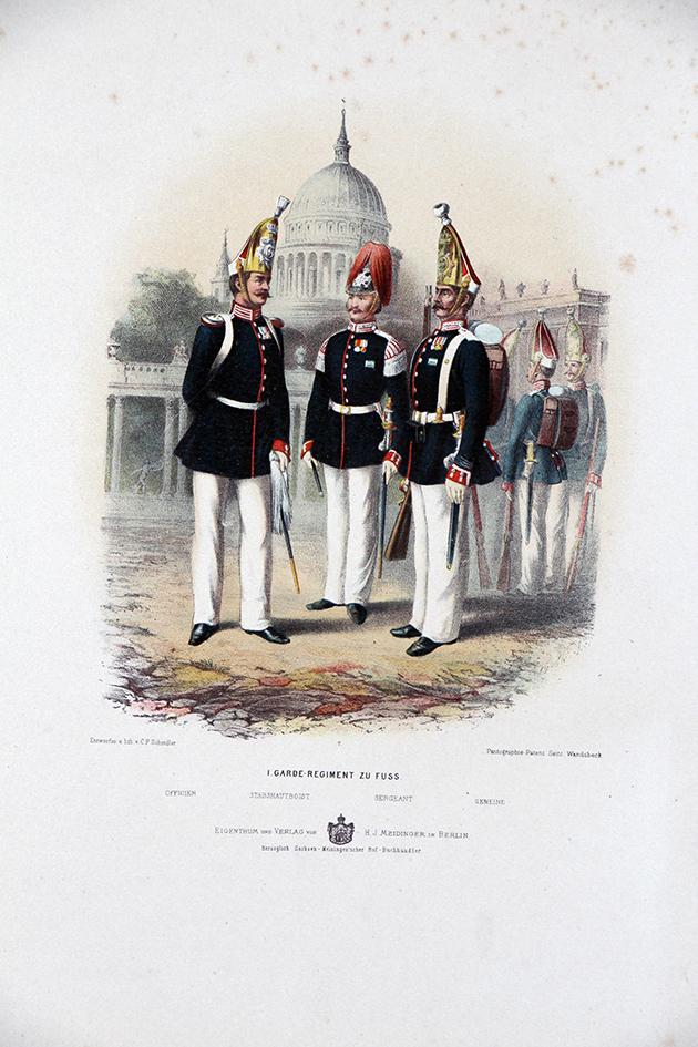 Gravure Chromolithographie XIX - Armée Prussienne - Garde Régiment à Pied - Uniforme