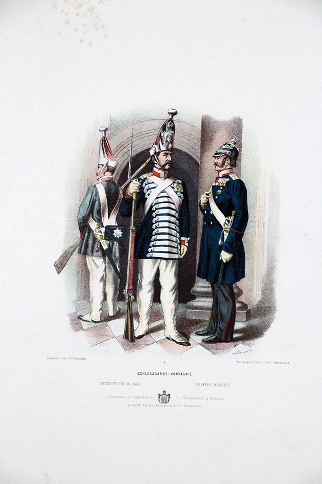 Gravure Chromolithographie XIX - Armée Prussienne - Garde du Château - Uniforme
