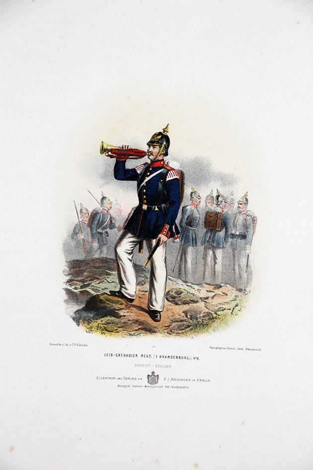 Gravure Chromolithographie XIX - Armée Prussienne - Leib Grenadier- Uniforme