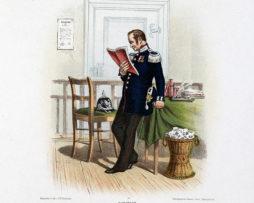 Gravure Chromolithographie XIX - Armée Prussienne - Administration de Guerre - Uniforme