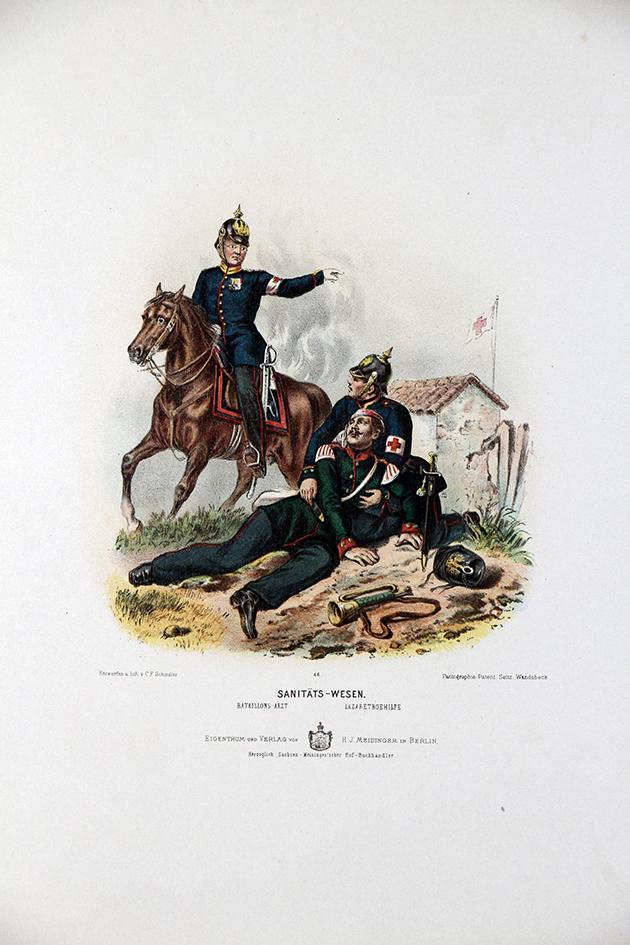 Gravure Chromolithographie XIX - Armée Prussienne - Infirmier - Médecin - Uniforme