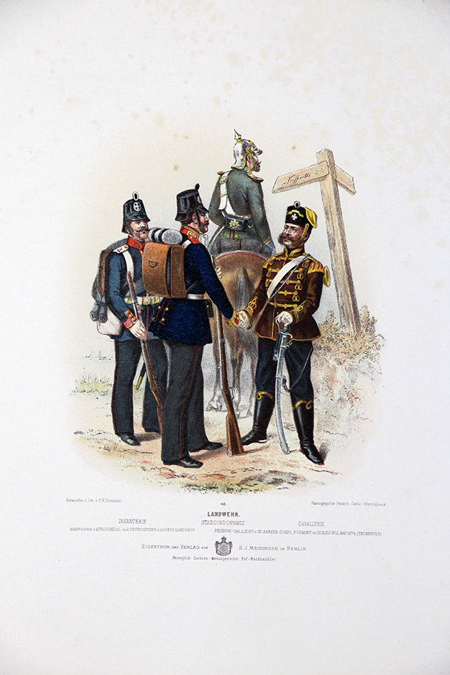 Gravure Chromolithographie XIX - Armée Prussienne - Troupes Landwehr - Uniforme