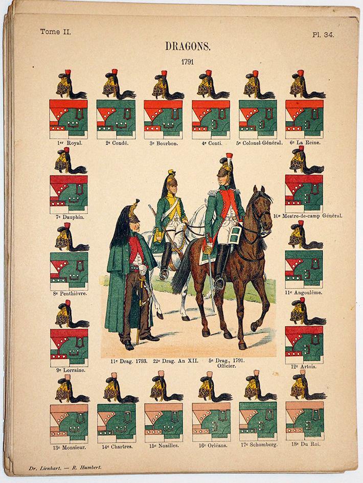 Lienhardt et Humbert - Uniformes de l'armée Française - TomeII - Pl34 - Dragons 1791