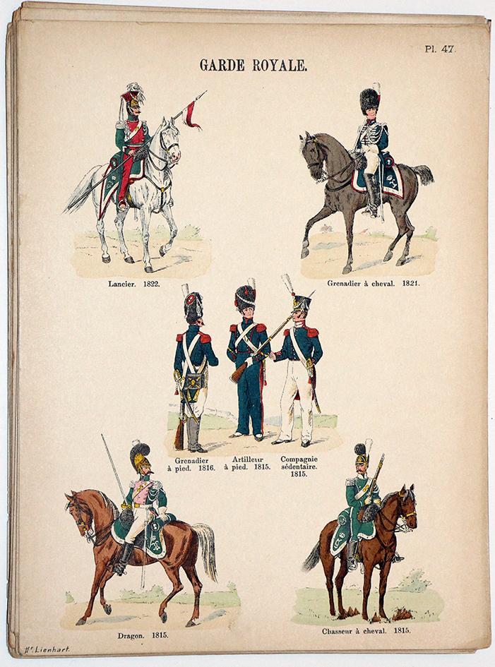 Lienhardt et Humbert - Uniformes de l'armée Française - TomeI - Pl47 - Garde Royale