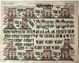 Planche Imagerie Epinal - Grande construction - Les Prussiens assiégeant la Ville - Pellerin n°210