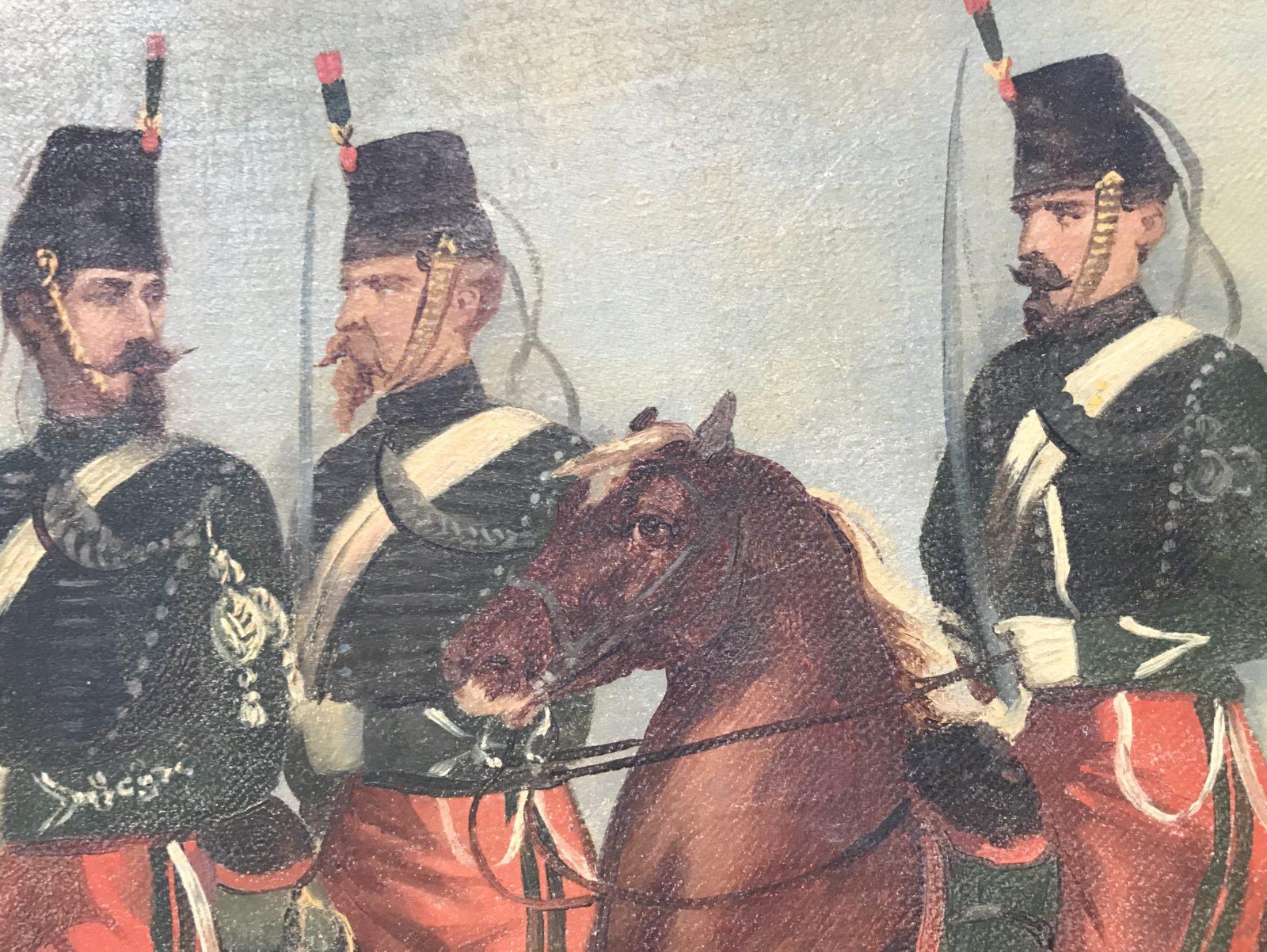 Peinture originale Chasseurs à Cheval Second Empire - Grande toile - Uniforme - Napoléon III