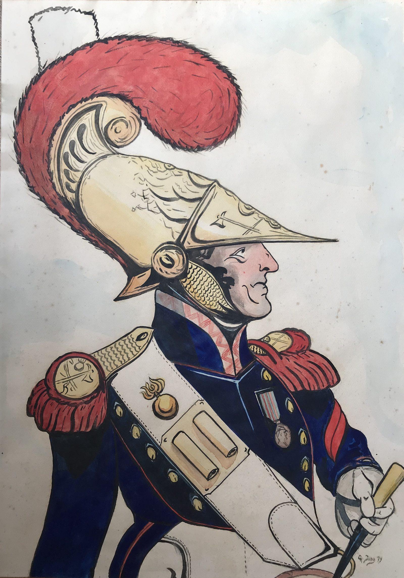 Grande peinture originale - Corps des Pompier 1840 - Étude d'après un tableau de Léo Schnug - 1939
