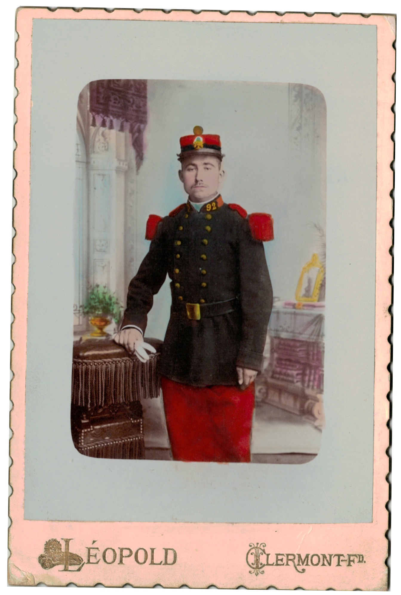 Carte CDV photo - Grand format - Soldat Infanterie République - 92eme Régiment