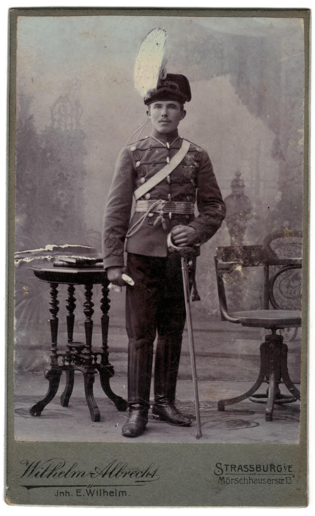 CDV Soldat Allemand / Alsacien - Armée Cavalerie - Grande tenue - Hussard - Sabre