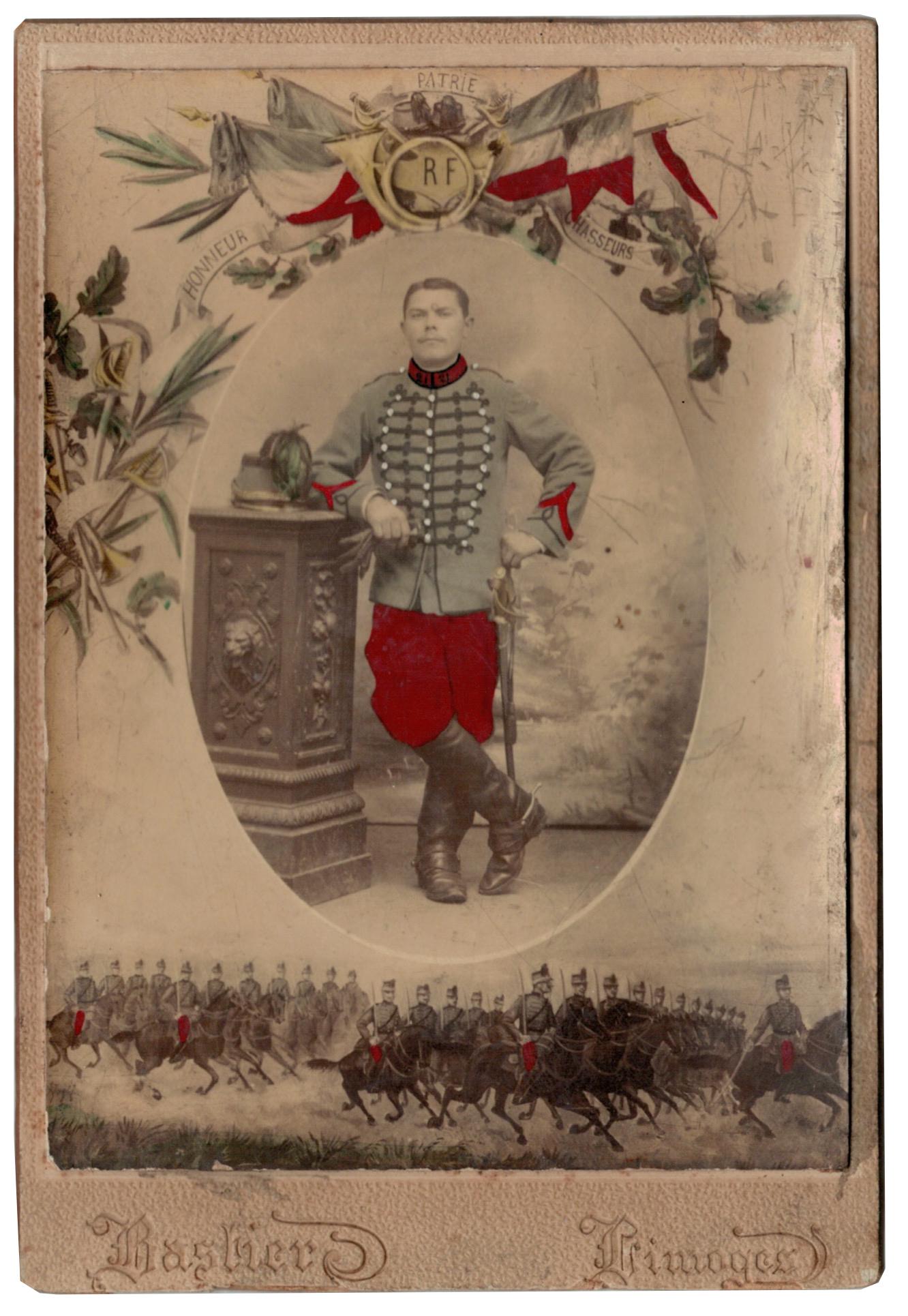 Carte CDV photo - Grand format - Soldat Régiment de Chasseurs à Cheval - République - Limoges