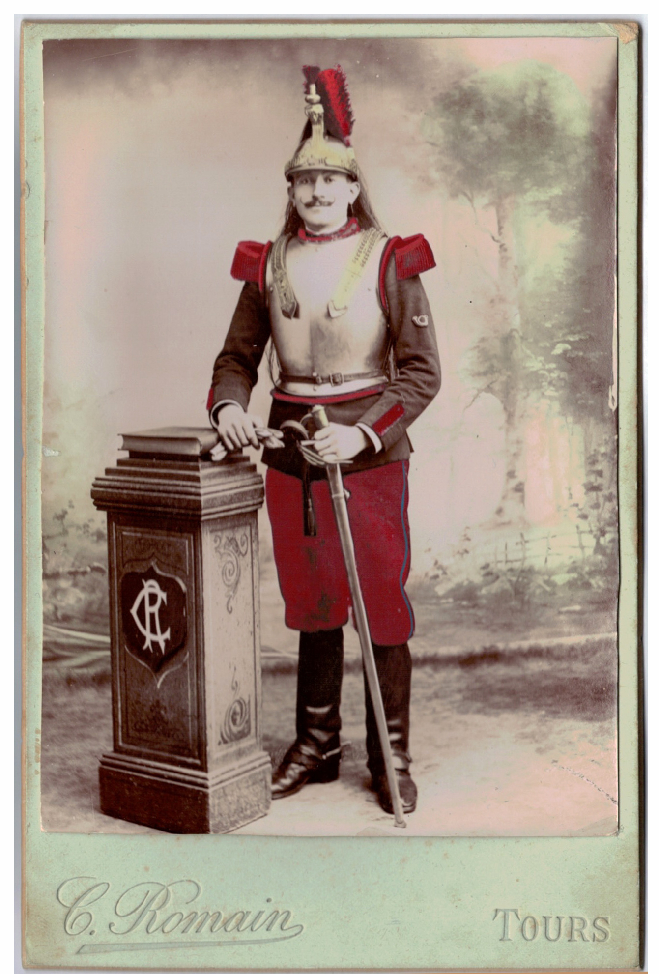 Carte CDV photo - Grand format - Soldat Cuirassier 3 République - Tours