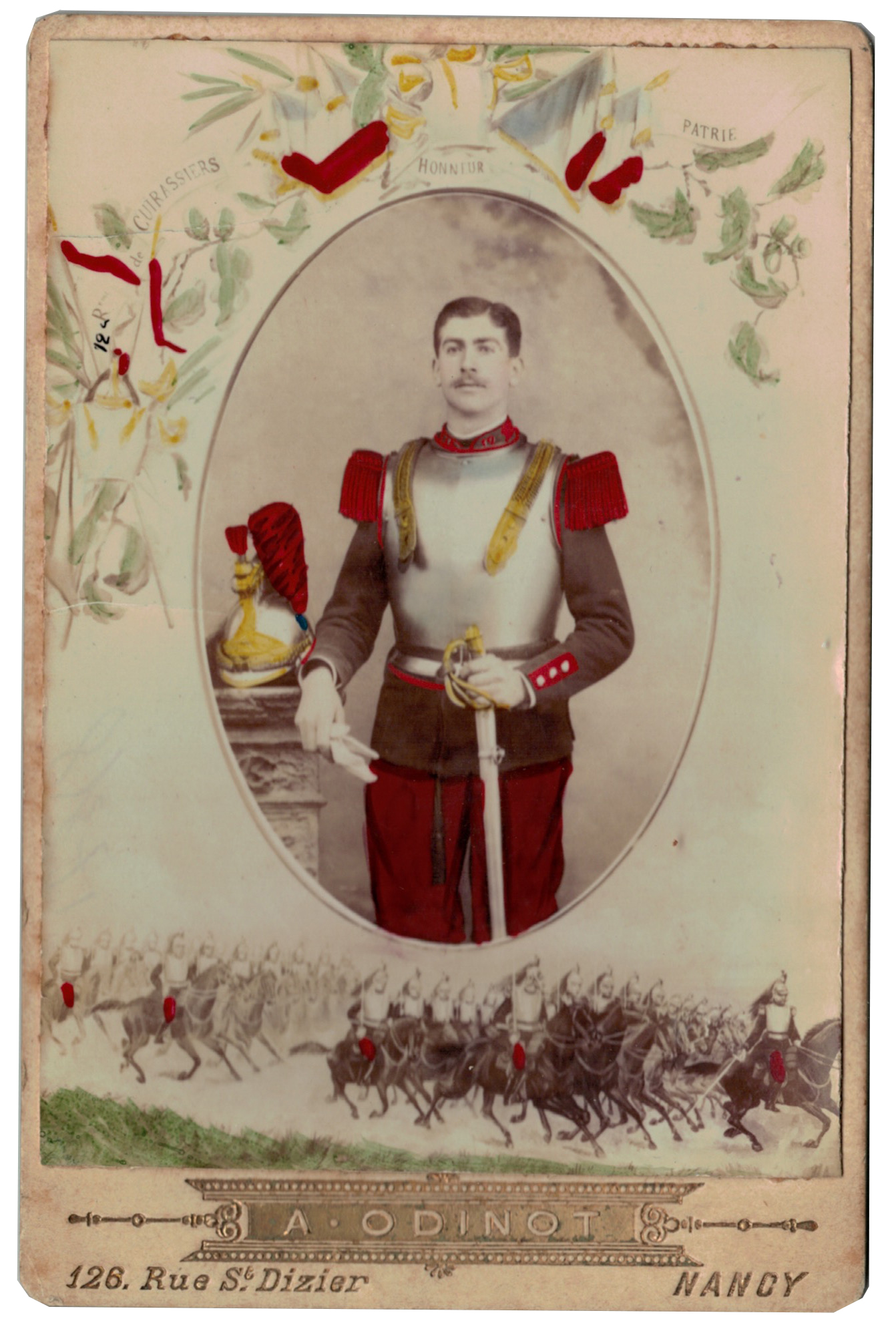 Carte CDV photo - Grand format - Soldat Cuirassier 3 République - Nancy - 12eme Cuirassier