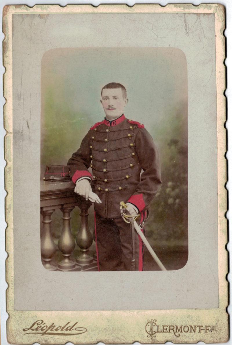 Carte CDV photo - Grand format - Soldat Artilleur 3 République - Clermont Ferrand