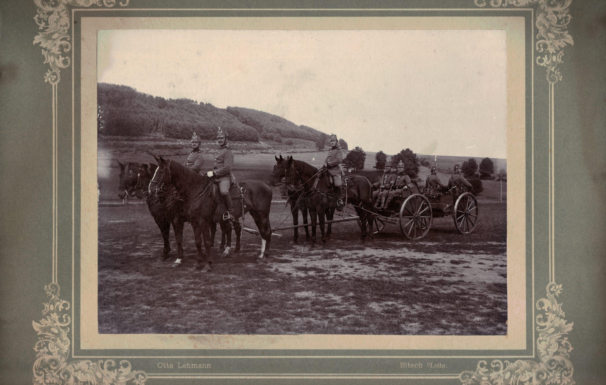 Grande photo - Attelage Prussien Mitrailleuse montée - Avant Guerre 14/18 - Chevaux - Alsace Lorraine