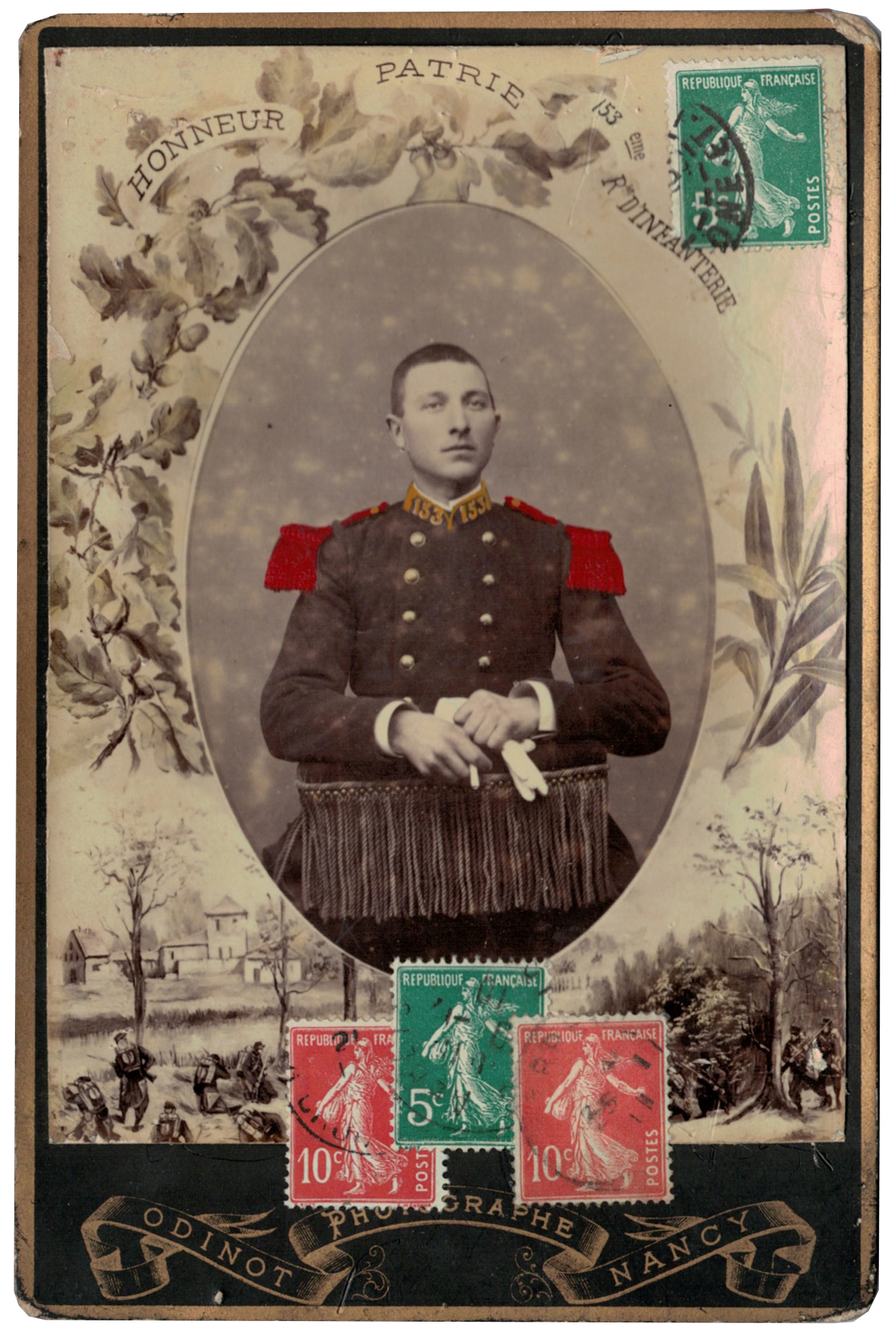 Carte CDV photo - Grand format - Soldat Infanterie République - 153eme Régiment