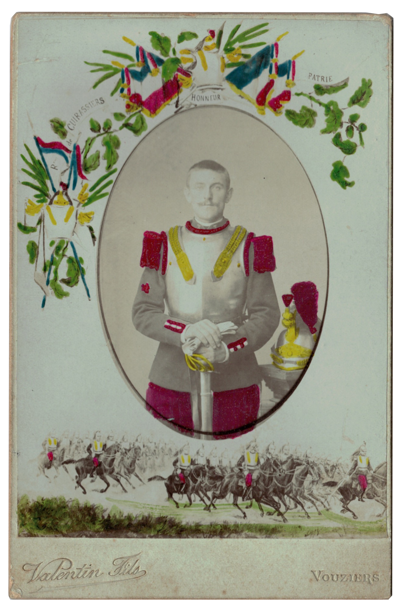 Carte CDV photo - Grand format - Soldat Cuirassier 3 République - Vouzier - 3eme Cuirassier