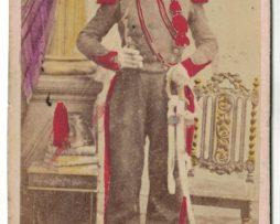 CDV Soldat Français - Artilleur - Uniforme - 2nd empire - Sabre - Shako - Rehaussée en couleurs Photographe Belle / St Omer
