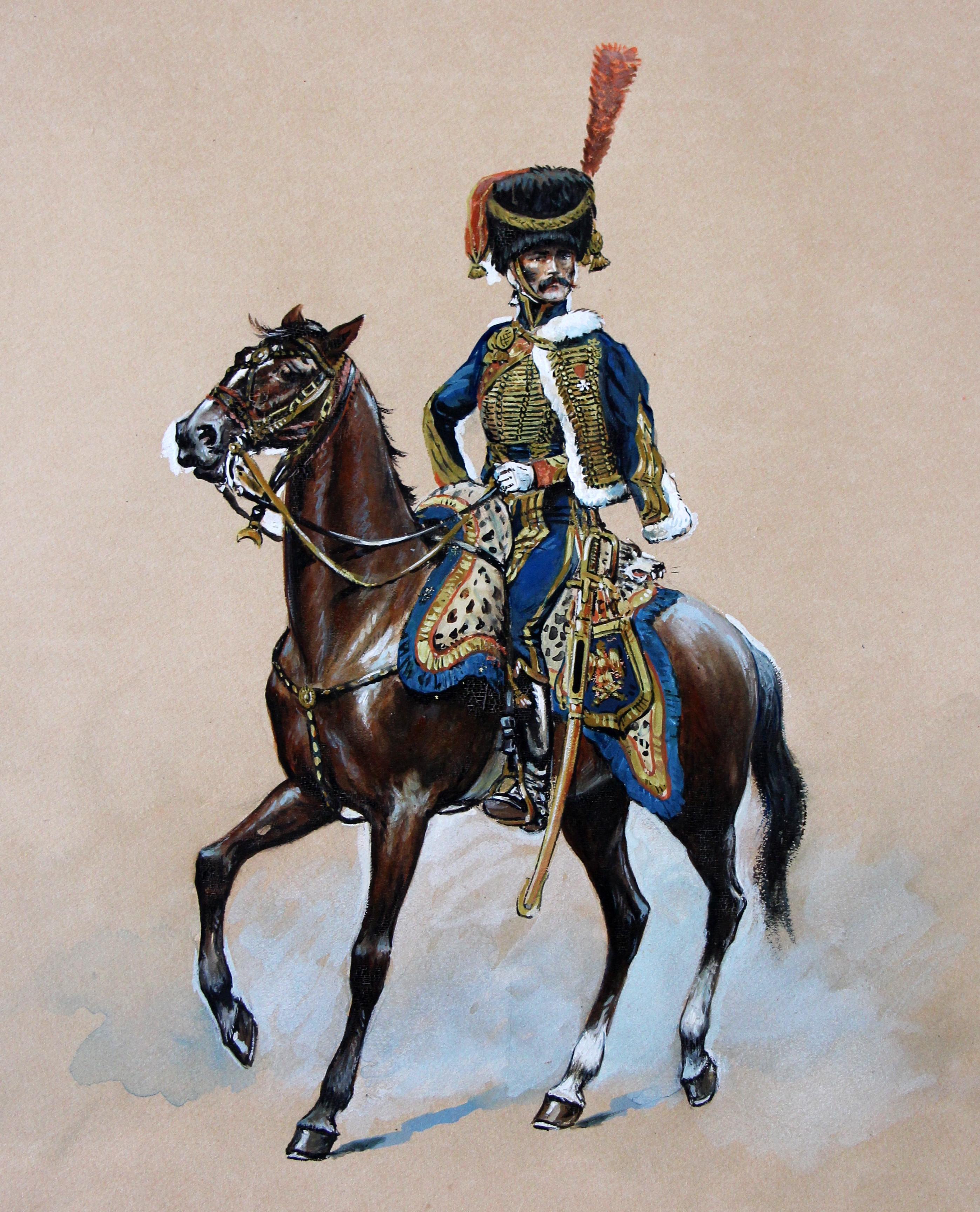 Peinture originale rehaussée - Garde Impériale Artillerie à Cheval 1810 - Pierre Albert Leroux - Les Uniformes de la Garde Impériale - 1er Empire