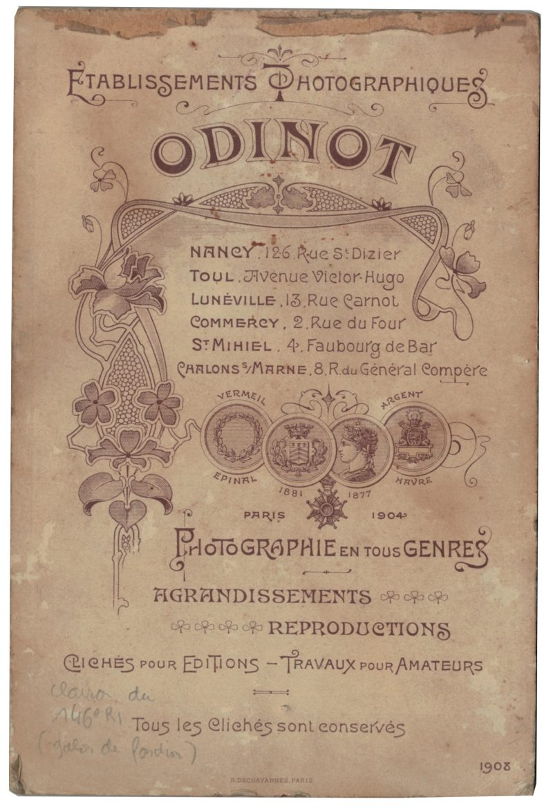 Carte CDV photo - Grand format - Soldat Infanterie 3 République - Nancy - 146 Régiment d'Infanterie Clairon
