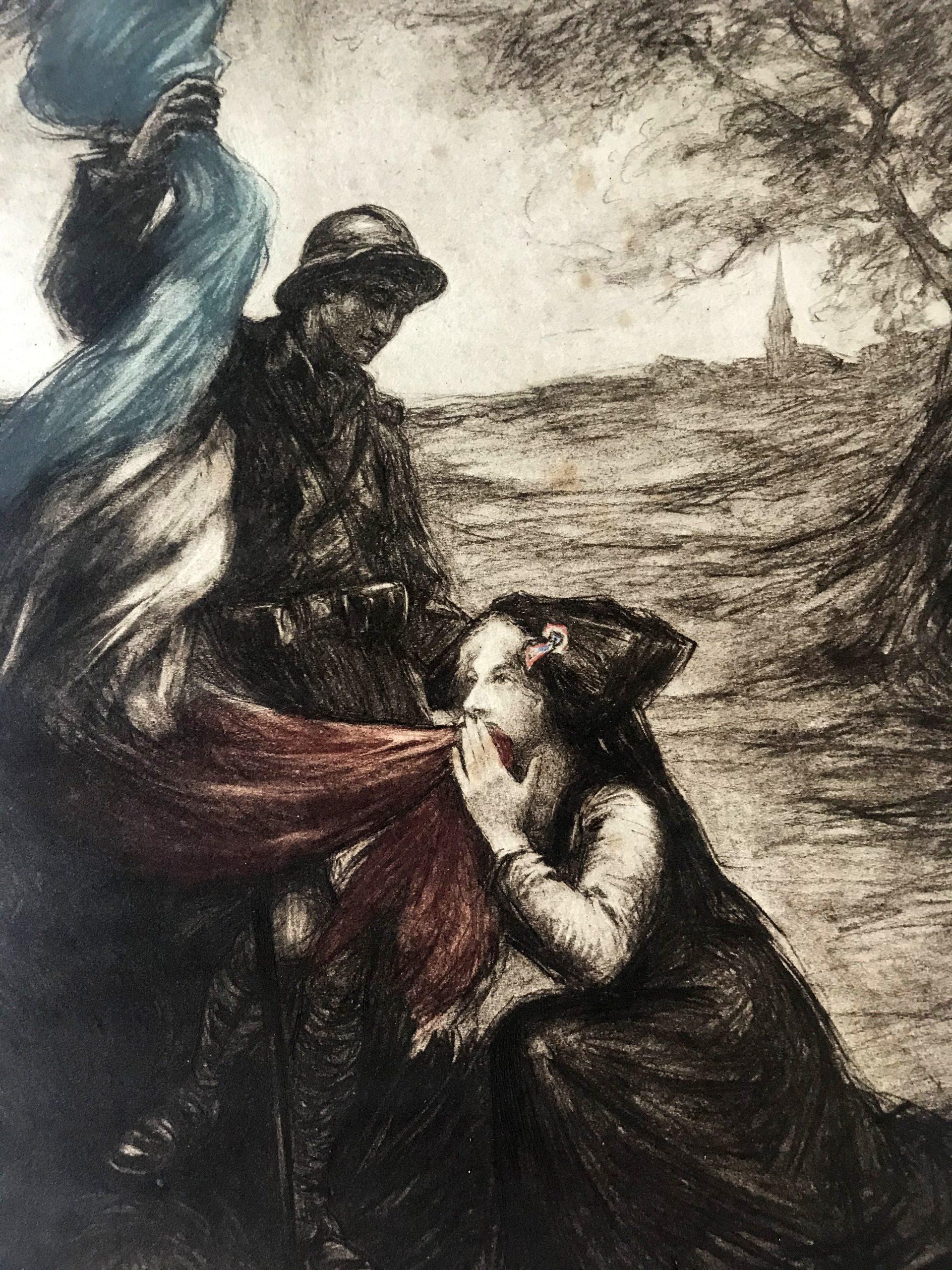 Gravure lithographie XX - Alsace - Guerre 14/18 - Pays - Poilu - Alsacienne - Cathédrale