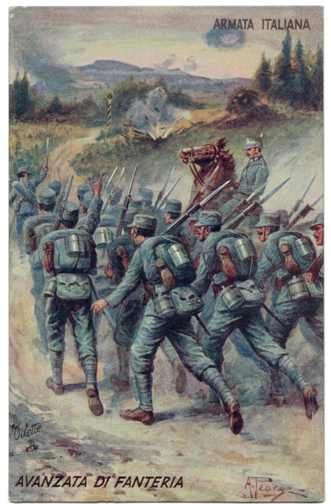 3 Cartes Postale Italie Lithographie - iconographie 14/18 - Uniforme armée Italienne