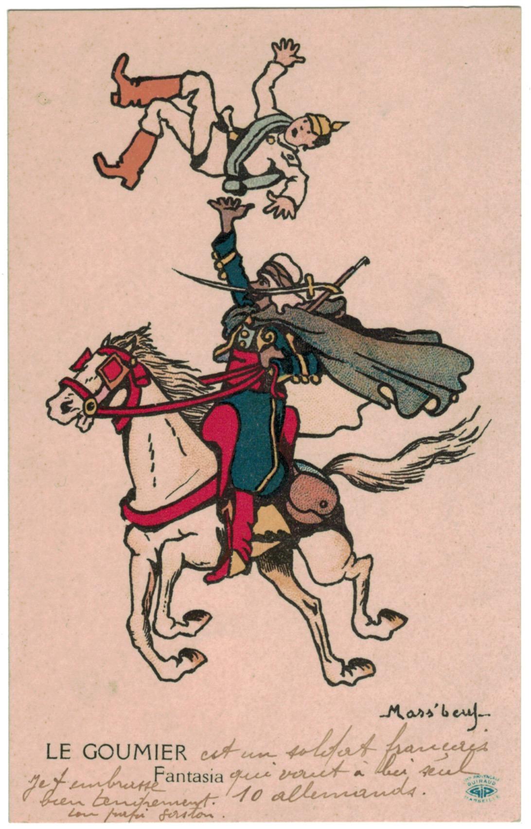 4 Cartes Postale France Lithographie - iconographie 14/18 - Parodie - Caricature - Prusse - Casque à pointe - 1914