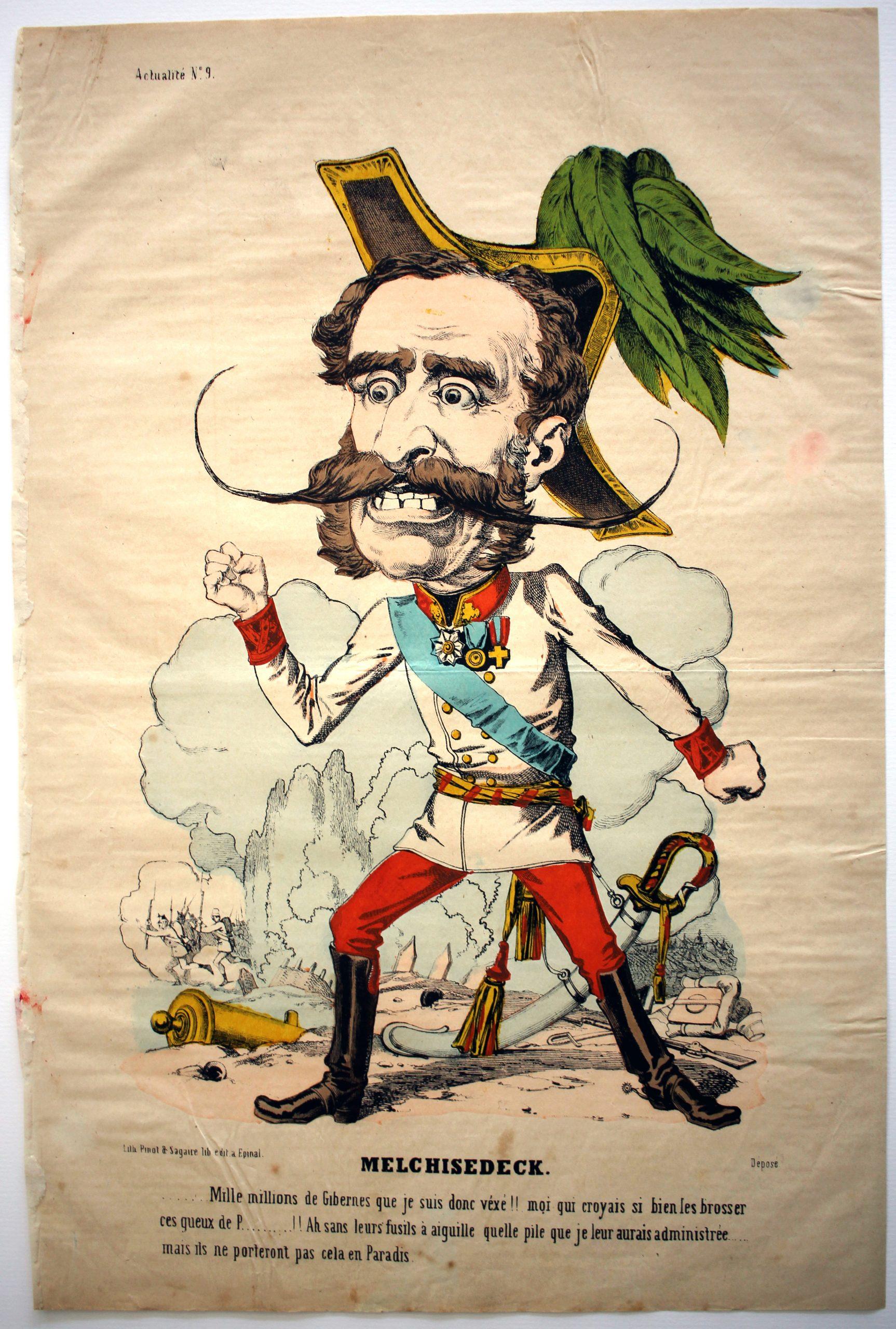 Imagerie Epinal - Pinot et Sagaire - Caricature - Autriche - Guerre 1866 - Austro - Prussienne - Casque à pointe